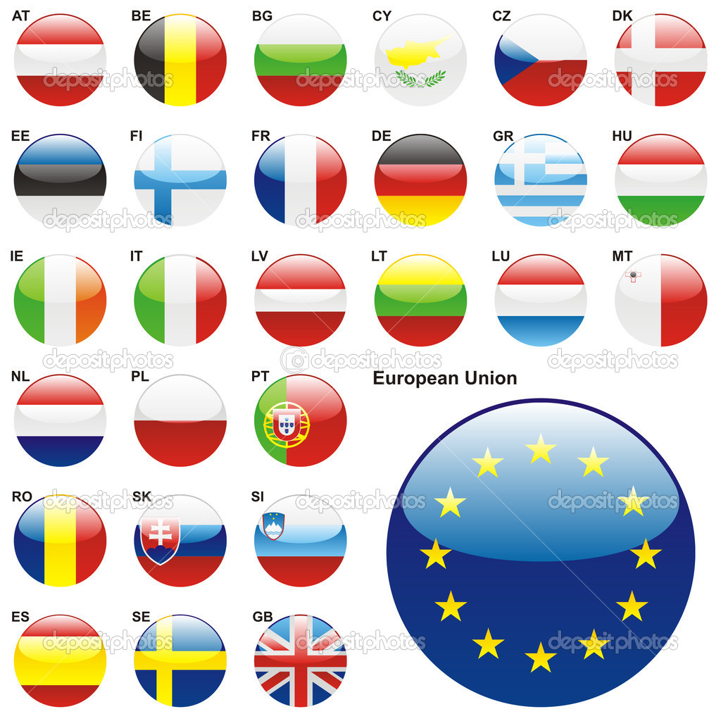 Fully editable vector illustration of all twentyseven Member States of the European Union in web button shape  — Stock Vector #3009114