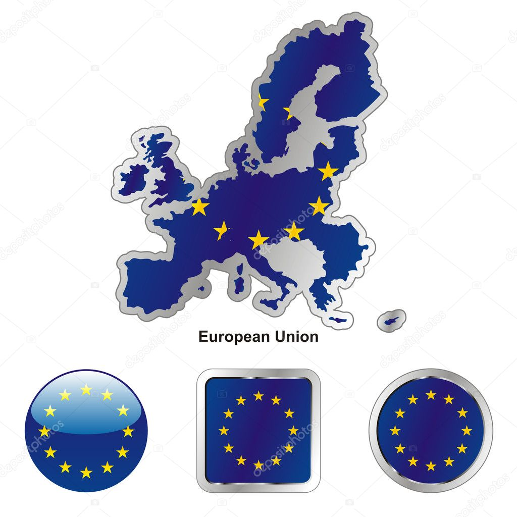 Fully editable vector flag of european union in map and web buttons shapes  — Stock Vector #3009128
