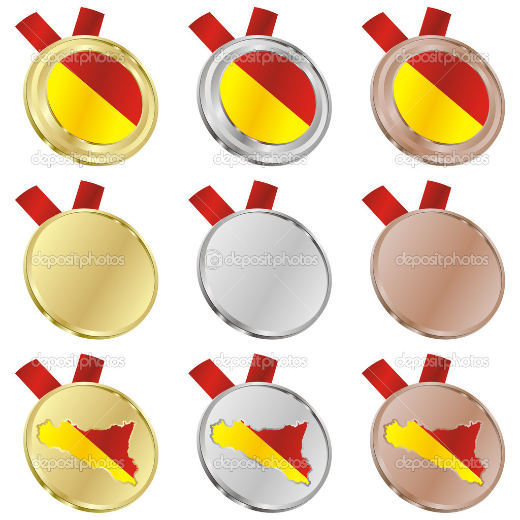 Fully editable sicily vector flag in medal shapes  — Stock Vector #3009726