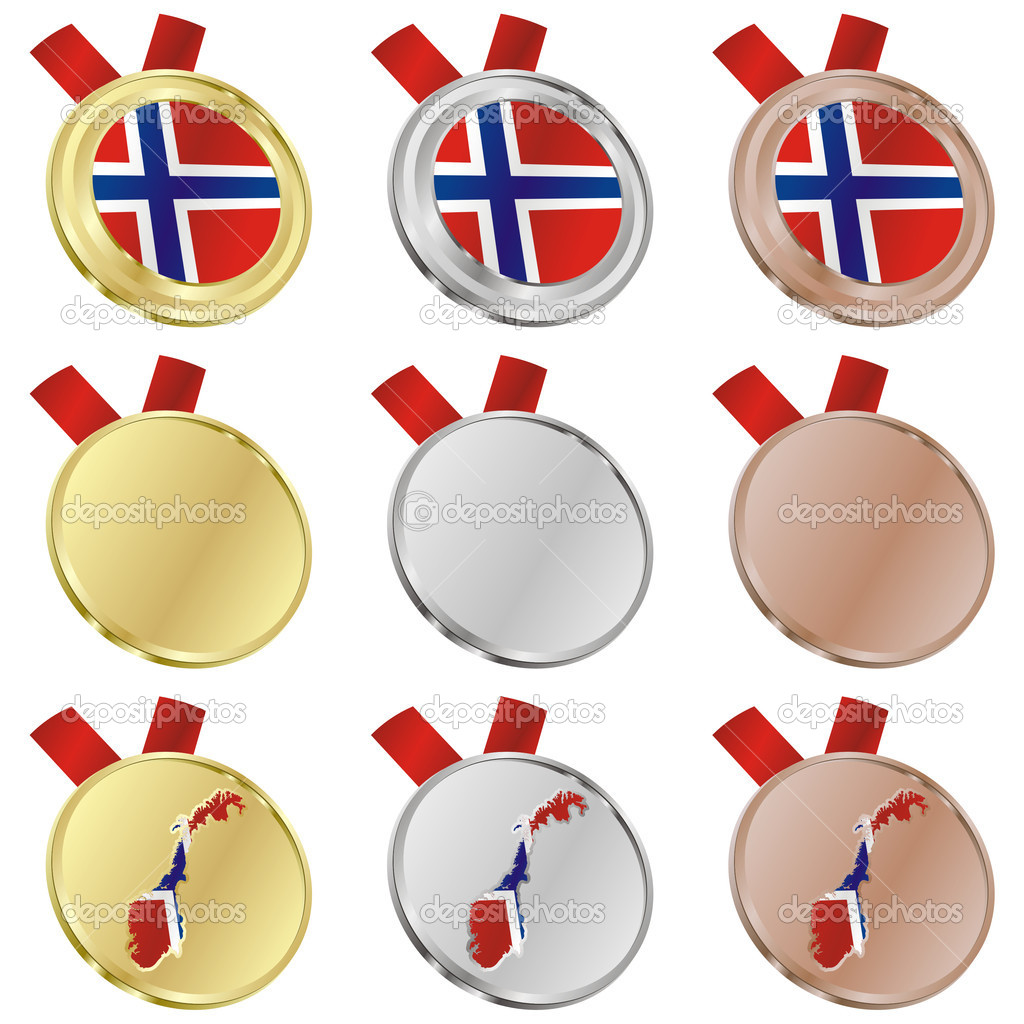 Fully editable norway vector flag in medal shapes  — Stock Vector #3009764