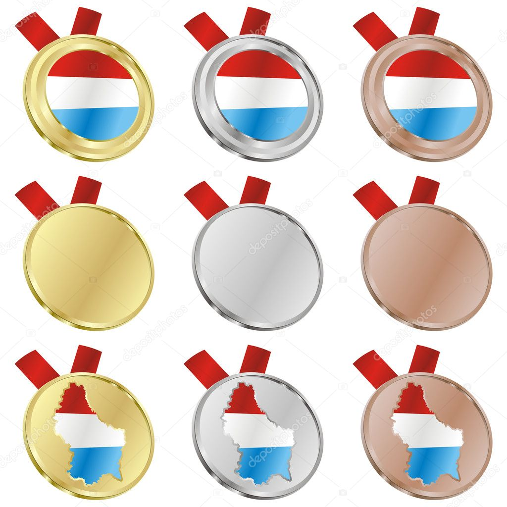 Fully editable luxembourg vector flag in medal shapes  — Stock Vector #3009801
