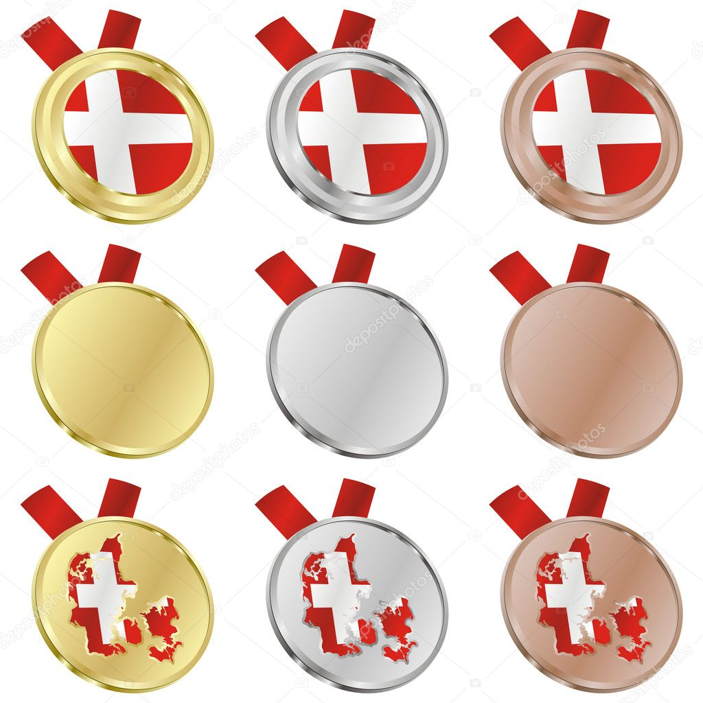 Fully editable denmark vector flag in medal shapes  — Stock Vector #3009908