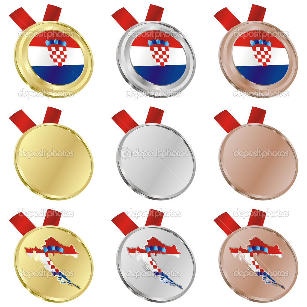Fully editable croatia vector flag in medal shapes  — Stock Vector #3009931