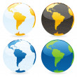 Vector isolated world globes - Stock Vector