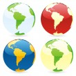 Vector isolated world globes — 图库矢量图片
