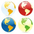 Vector isolated world globes - Imagens vectoriais em stock