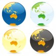 Vector isolated world globes — Stock vektor