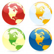 Vector isolated world globes — Stock Vector