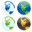 Vector isolated world globes — Vettoriali Stock