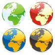 Vector isolated world globes — Imagen vectorial