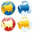 Vector isolated world globes — ストックベクタ