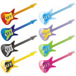 Stock Vector: Vector editable guitar icons