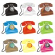 Colored isolated retro phones — Stock Vector