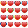 Stock Vector: Vector buttons in heart shape