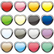 Vector buttons in heart shape — Stock Vector #3019028