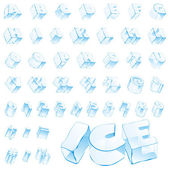 Vector 3d ice alphabet - capitals and nu — Stock Vector