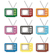 Vector illustration of old tv sets — Stock Vector