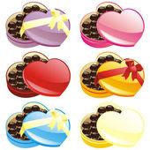 Kalp şeklinde çikolata hediye kutuları — Stok Vektör