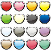 Vector buttons in heart shape — Stock Vector