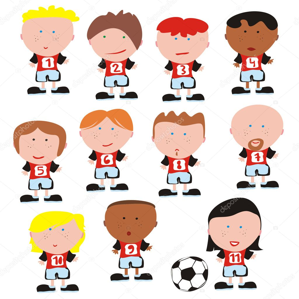 Fully editable soccer team vector  — Stock Vector #3010045