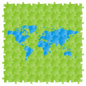 Vector world map with puzzle pattern — Stock Vector