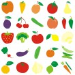 Isolated vector fruits and vegetable — Stock Vector