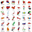 Isolated asian flags in map shape — Stock Vector