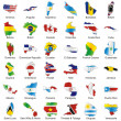 Isolated american flags in map shape — Stock Vector