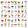 Isolated european flags in map shape — Stock Vector