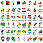Isolated african flags in map shape — 图库矢量图片