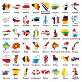 Isolated european flags in map shape — Vector de stock