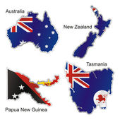 Isolated oceanian flags in map shape — Stock Vector
