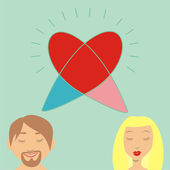 Vector romantic couple thinking of love — Stock Vector