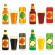 Beer bottles, glasses and cans — Stock Vector #3128411