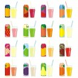 Royalty-Free Stock Vector: Isolated juice cans and glasses