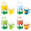 Vettoriale Stock : Isolated milk carton boxes and mugs