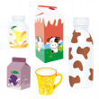 Isolated dairy products — Stock Vector