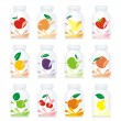 Isolated fruit yogurt glass bottles — Stock Vector