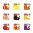 Stock Vector: Isolated jam jars set