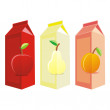 Isolated juice carton boxes - Stock Vector
