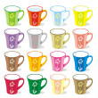 Isolated colored mugs - Stockvektor