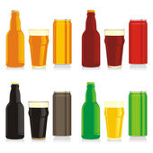 Beer bottles, glasses and cans — Stock Vector