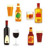 Isolated alcohol bottles and glasses — Stock Vector