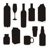 Bottles and glasses silhouettes — Stock Vector