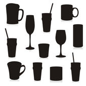 Glasses and mugs silhouettes — Stock Vector