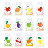 Isolated fruit yogurt glass bottles — Stock Vector