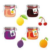 Frascos de mermelada aislados y frutas — Vector de stock