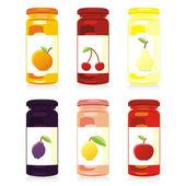 Isolated jam jars set — Stock Vector