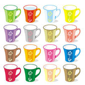 Isolated colored mugs — Stockvektor