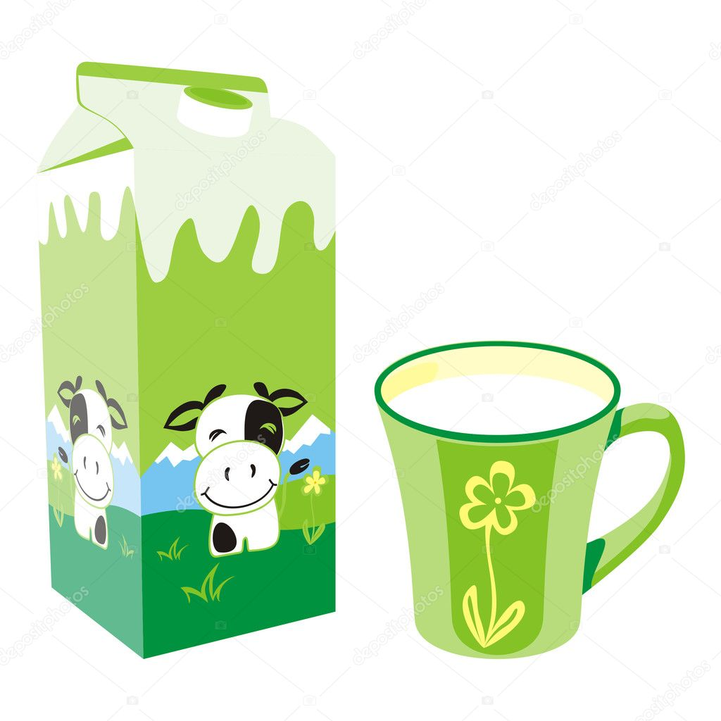 Vector illustration of isolated milk carton box and mug — Stock Vector #3128789